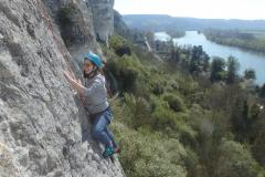 Escalade en 5b sur les falaises de Val-Saint-Martin
