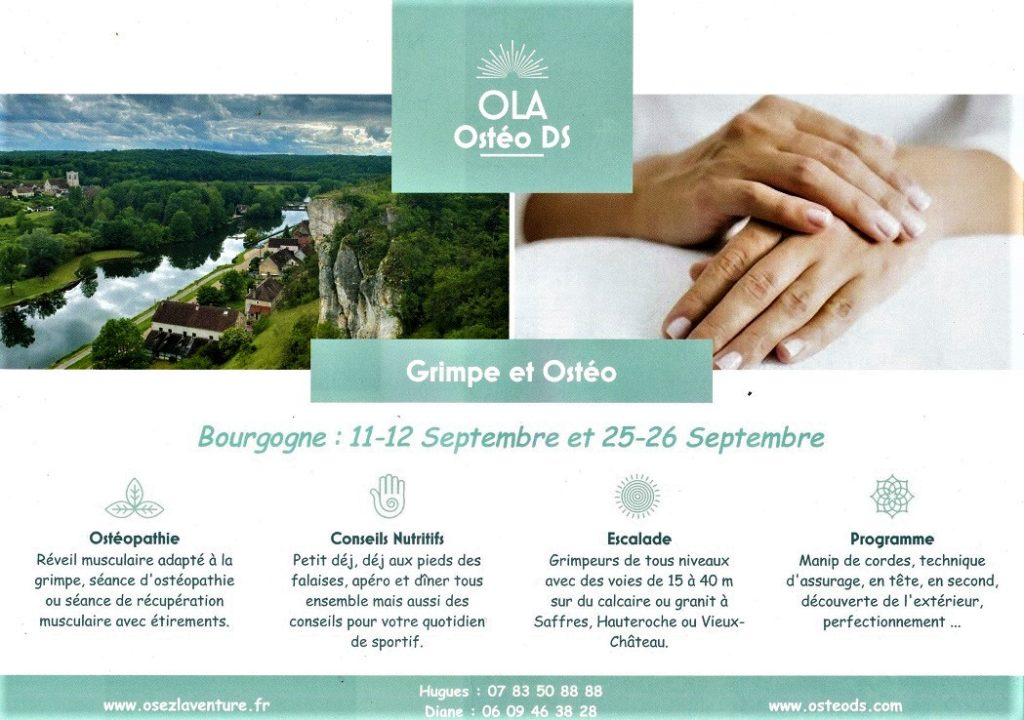 Escalade et ostéopathie en Bourgogne